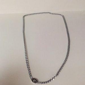 Fossil silver chain lock belt